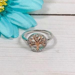 Sterling Silver Tree of Life Ring Rose Gold Plate